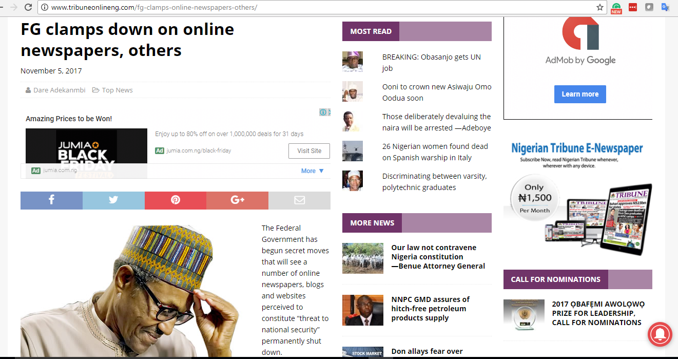 Paradigm Initiative Statement on the Alleged Nigerian Government's Attempts to Clampdown on Online Newspapers