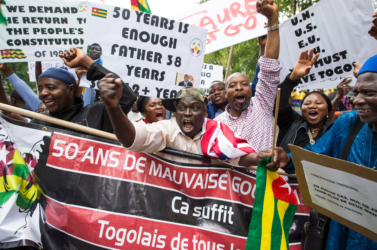 Abdou Razak (C) of Togo demonstrates with others against President Faure Gnassingbé