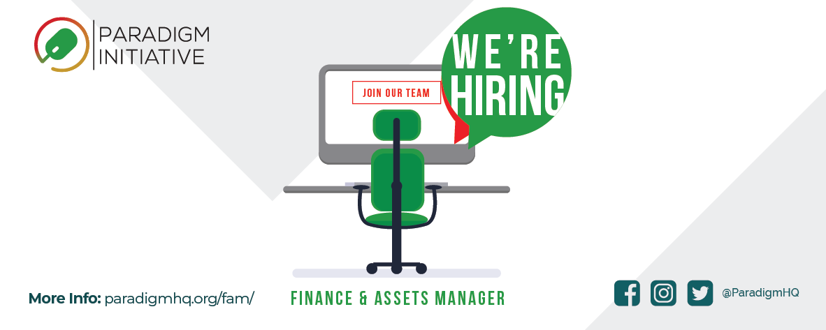 Vacancy: Finance and Assets Manager