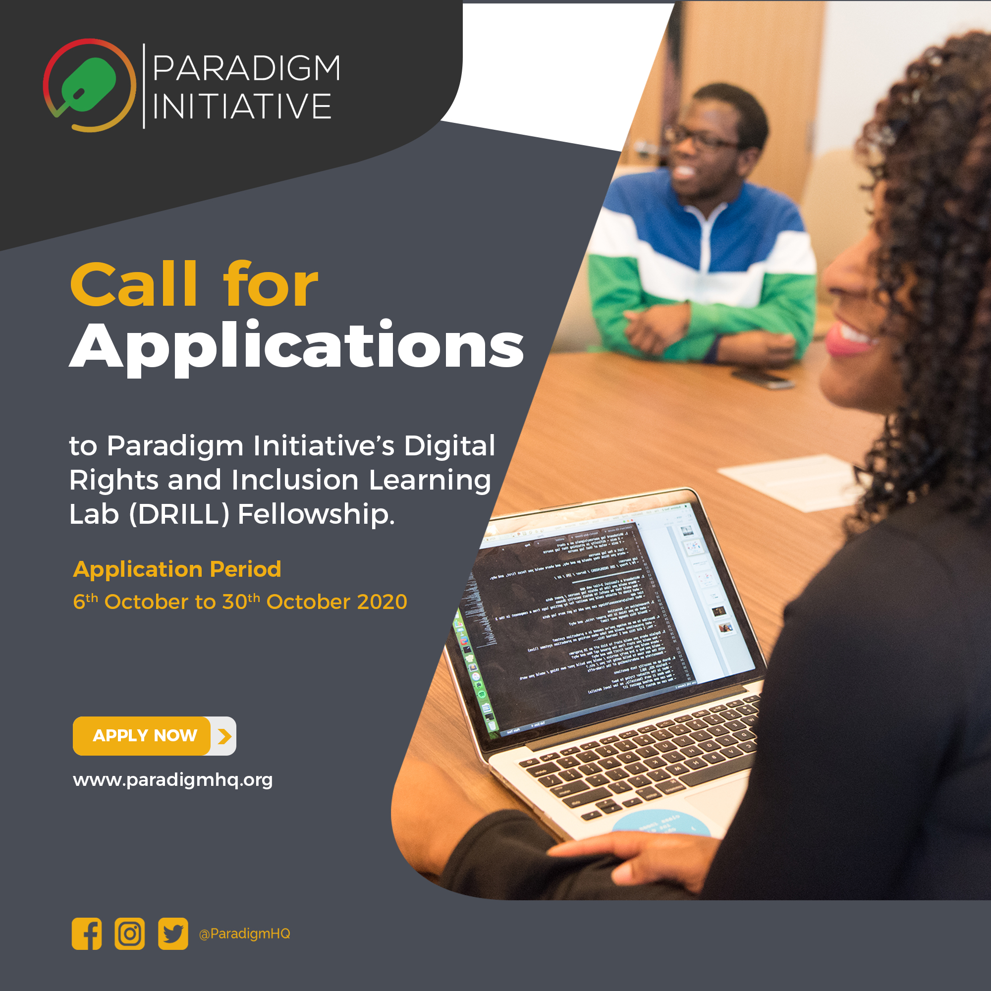 Call for applications to Paradigm Initiative's Digital Rights and Inclusion Learning Lab (DRILL) Fellowship
