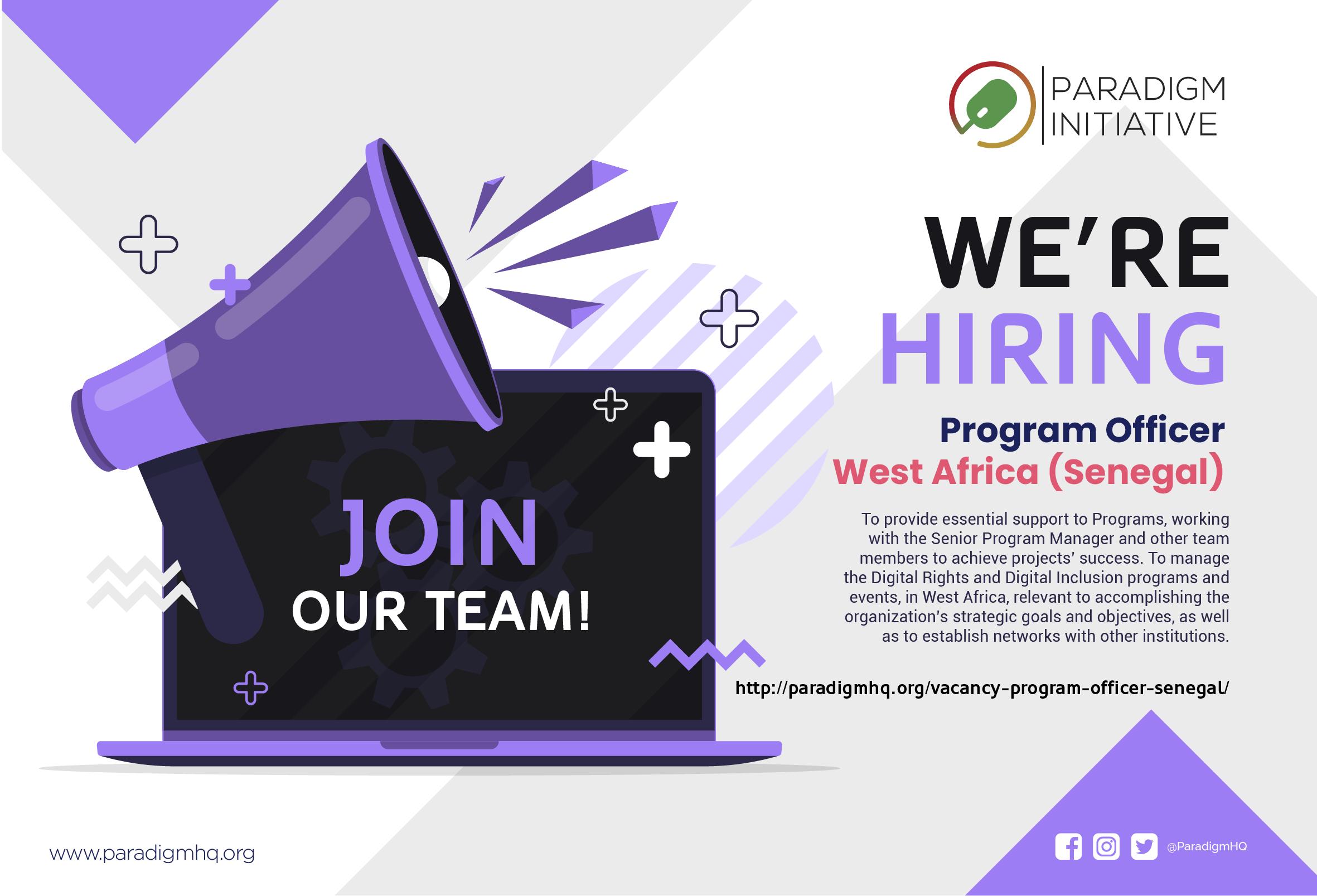 Vacancy: Program Officer – W/A (Senegal)