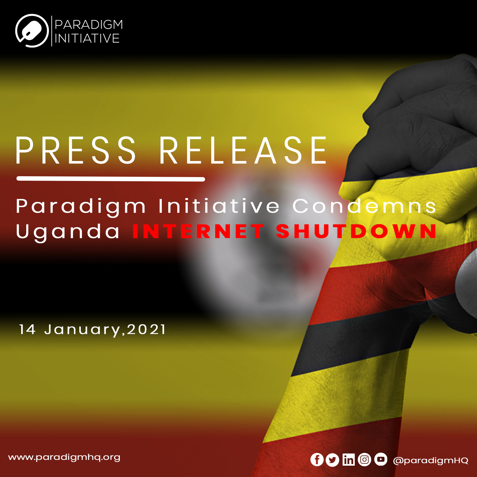 Press Release: Paradigm Initiative Condemns Uganda Internet Shutdown.