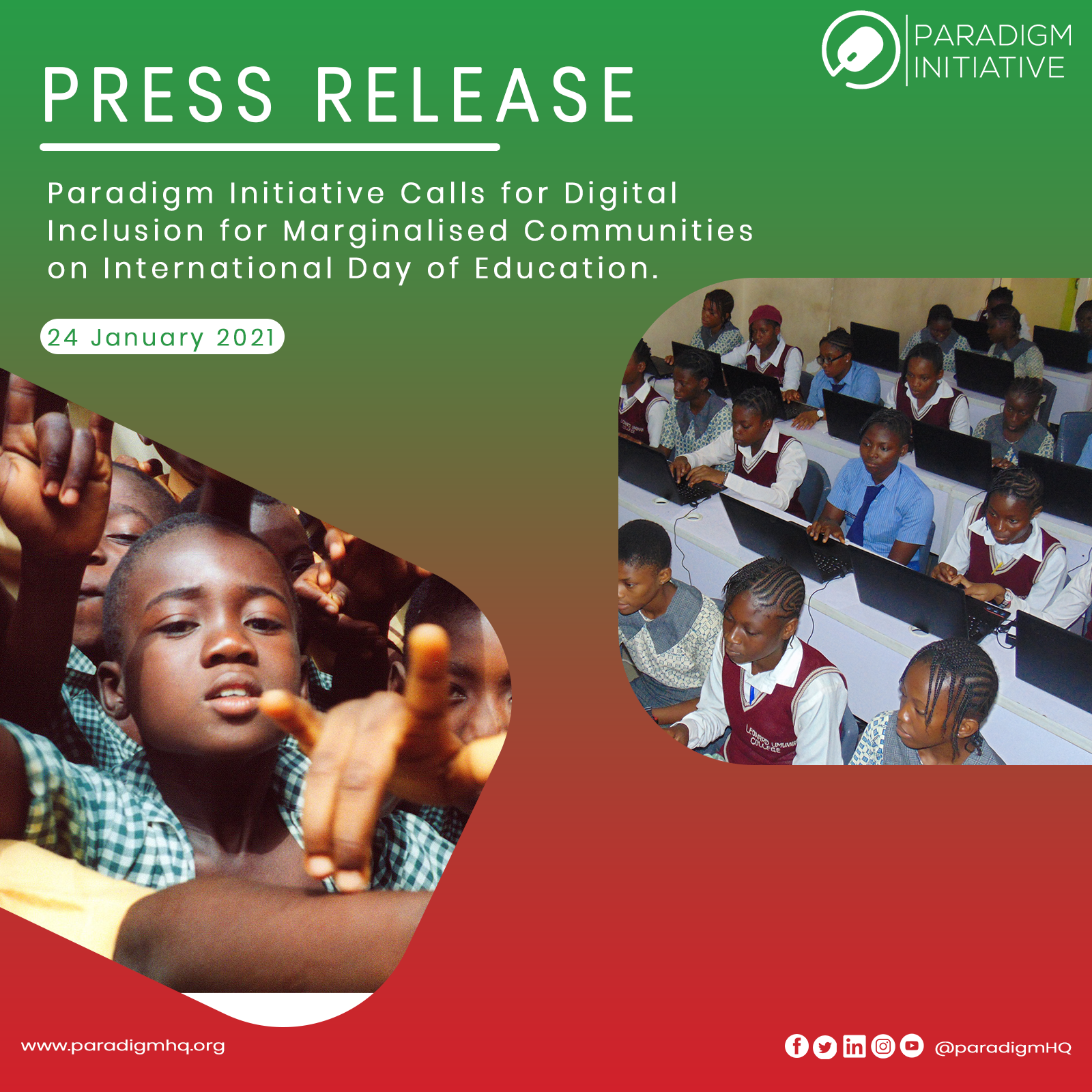 Press Release: Paradigm Initiative Calls for Digital Inclusion for Marginalised Communities on International Day of Education!