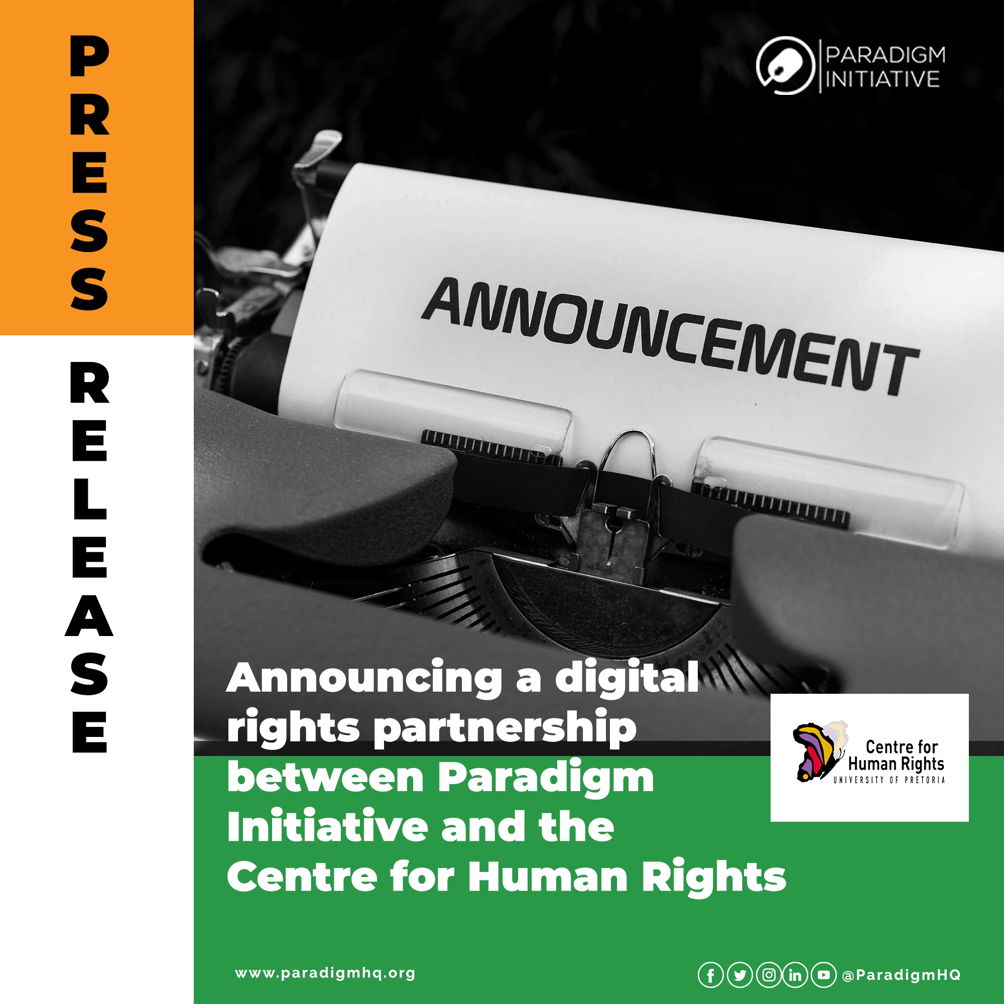 Press Release: Announcing a digital rights partnership between Paradigm Initiative and the Centre for Human Rights.