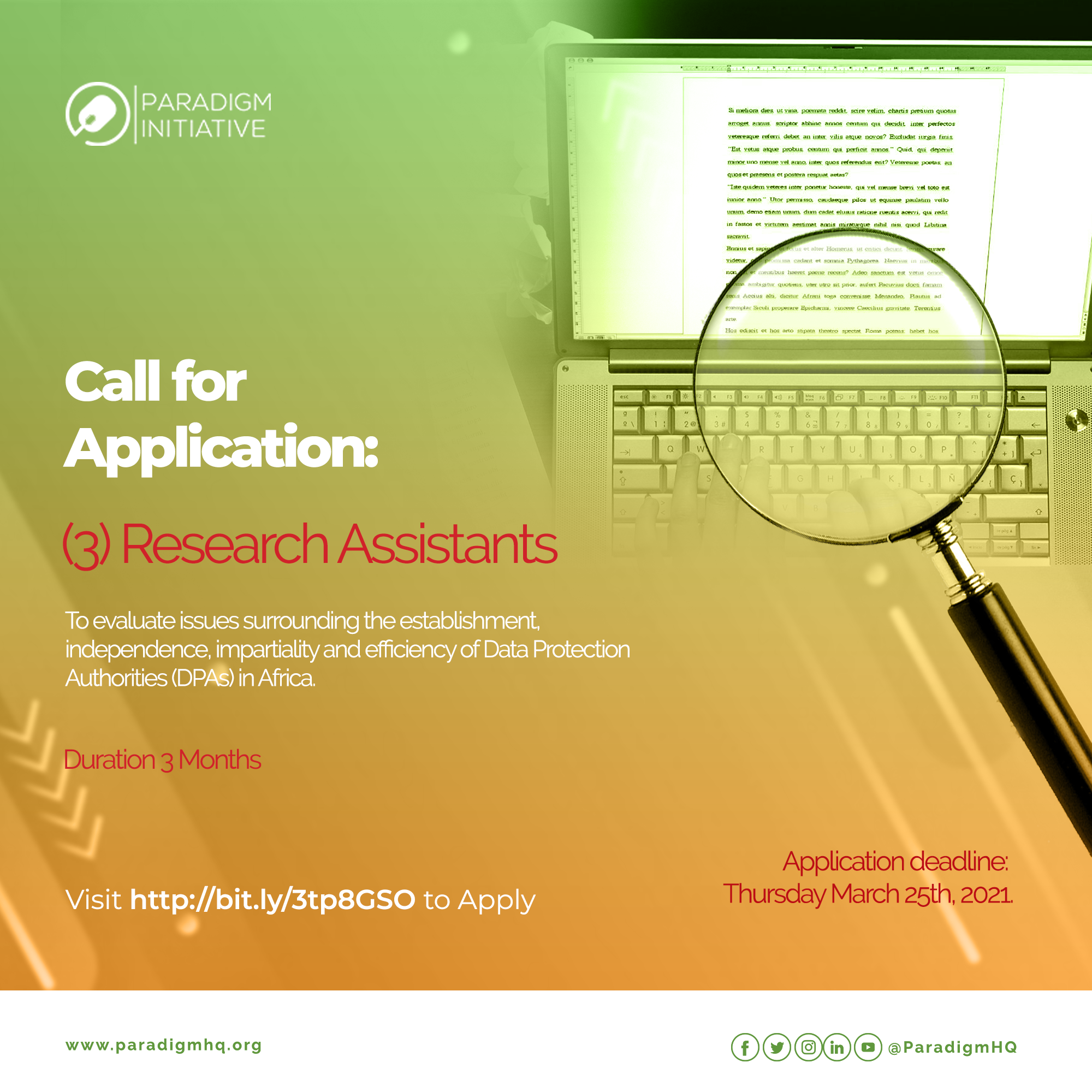 Call for Applications: Research Assistants
